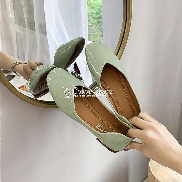 牛油果綠仙女風淺口單鞋2010春季新款網紅超火平底豆豆鞋一腳蹬鞋 快速出貨