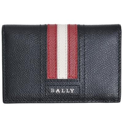 BALLY 經典條紋LOGO防刮皮革機能卡片/證照夾(黑)