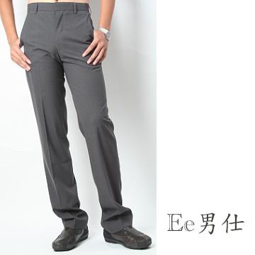【Ee男仕】暗直扣V型口袋細直紋西裝長褲-灰色