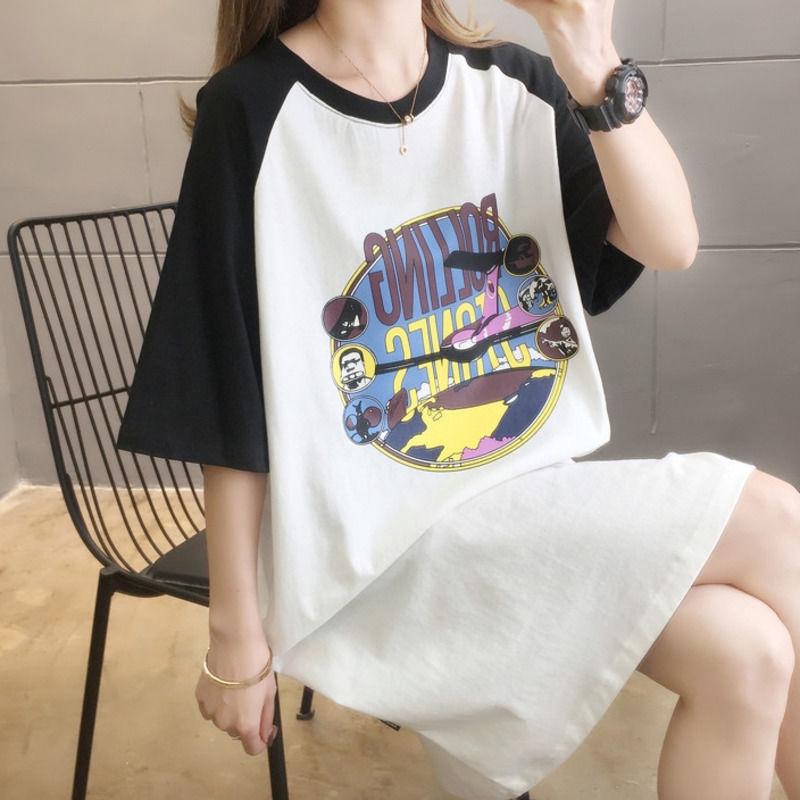 [現貨] 寬鬆插肩袖卡通印花中長款短袖T恤連身裙 胖mm大碼女裝短袖洋裝 休閒長裙過膝洋裝