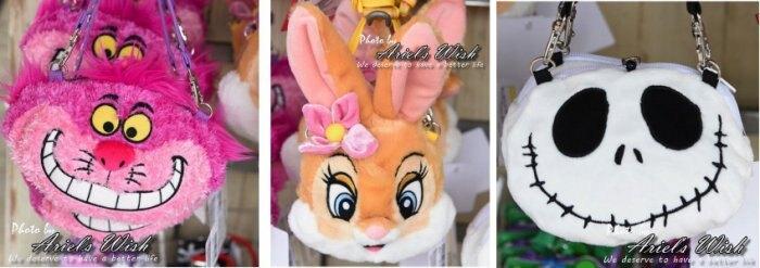 Ariels Wish日本東京迪士尼Disney伸縮拉長悠郵卡票卡夾掛繩拉鍊收納零錢包斜背包妙妙貓邦妮兔骷髏頭傑克-現貨