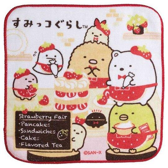 小禮堂 角落生物 純棉割絨方巾 手帕 小毛巾 21x21cm (紅白 草莓)