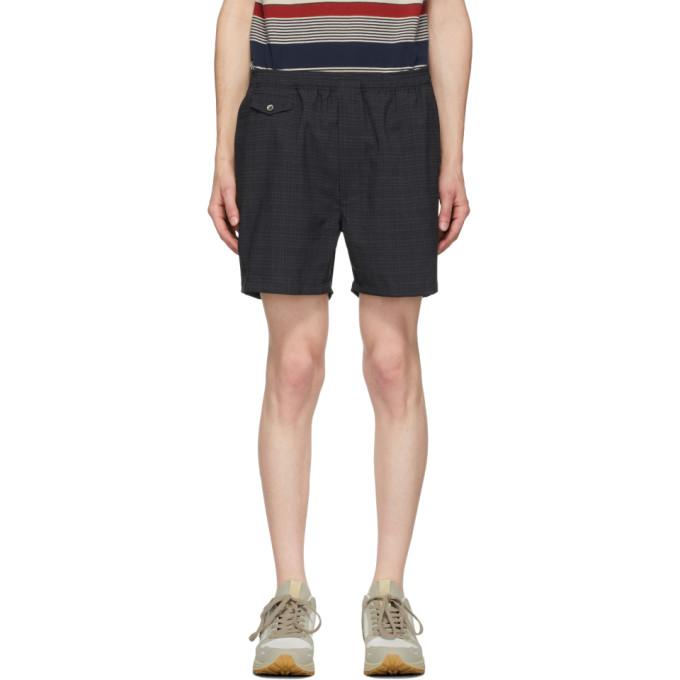 BEAMS PLUS 黑色 and 灰色 Shadow Check 短裤