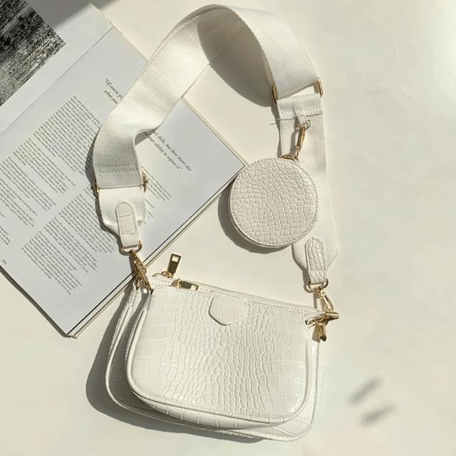 韓國空運 - Triple bag and bag clutch cross bag white 手拿包