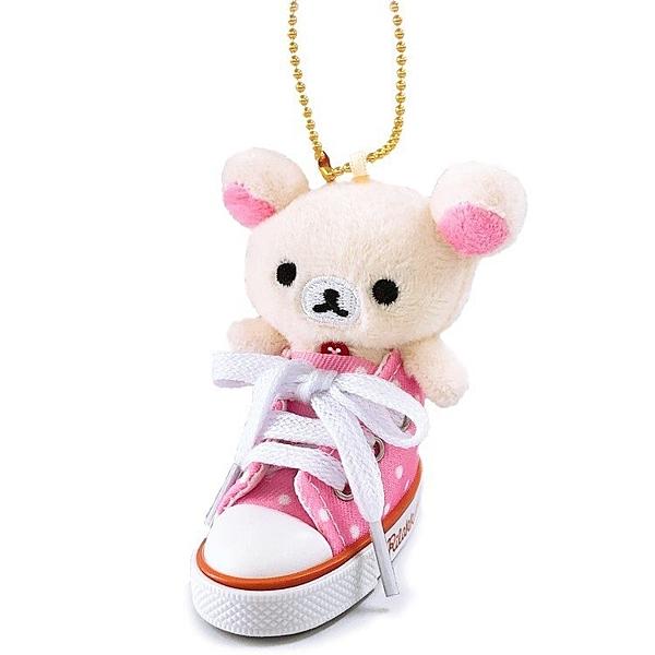 小禮堂 懶懶熊 牛奶熊 鑰匙圈 絨毛吊飾 鎖圈 掛飾 帆布鞋造型 (粉白) 4548643-14322