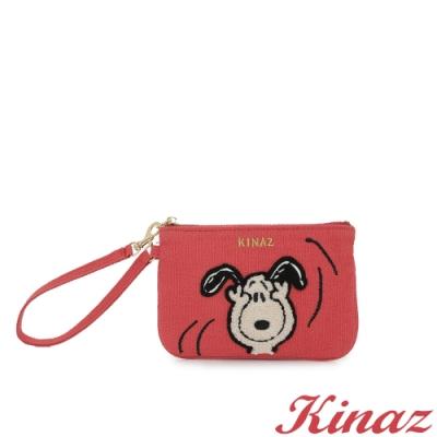 KINAZ SNOOPY聯名款 毛絨絨史努比手腕帶萬用零錢包-閨蜜莓果粉-Friends氧氣小物系列