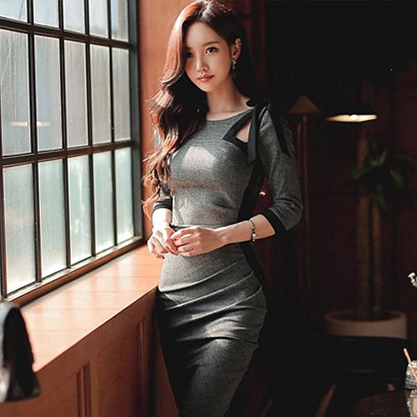 Qmigirl 性感加絨百搭OL修身鏤空禮服連身裙洋裝【WT1132】
