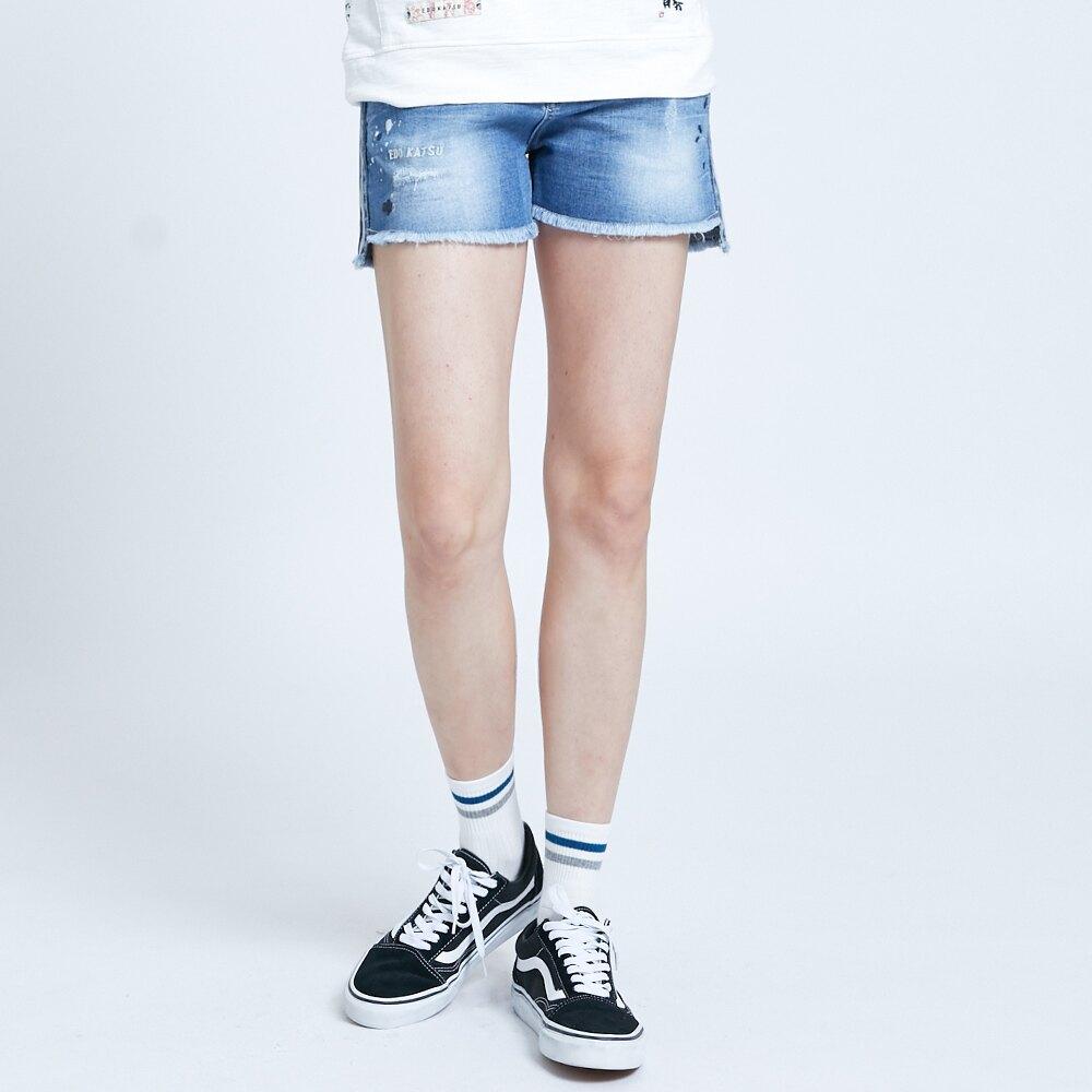 新品↘EDOKATSU江戶勝 江戶時代 基本款牛仔短褲-女款 石洗藍 SHORTS