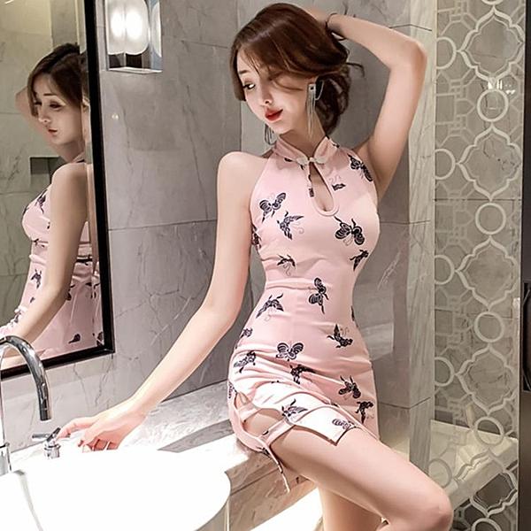 旗袍年輕款 少女日常復古印花收腰主播性感高開叉改良包臀洋裝 「錢夫人小鋪」