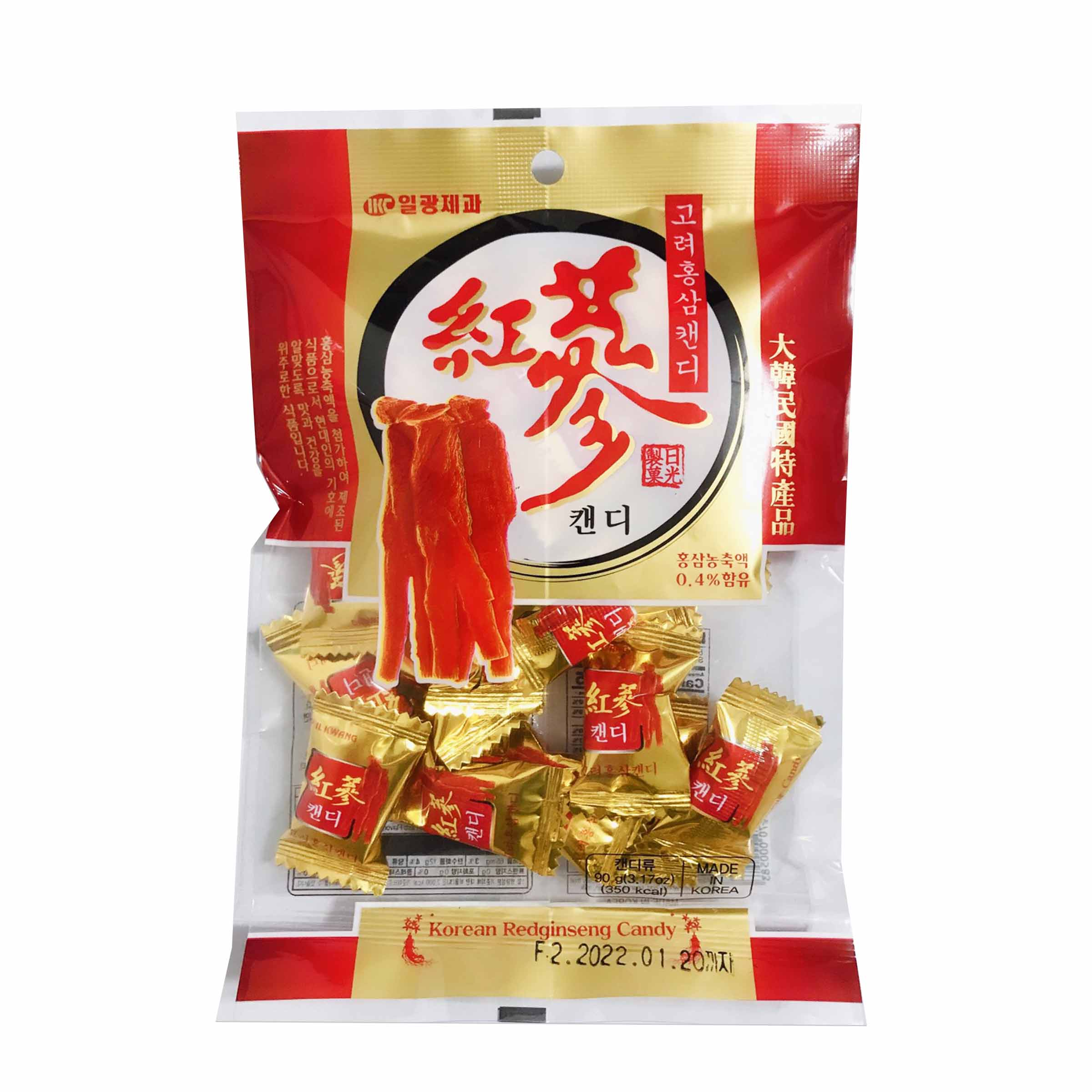 韓國 紅蔘糖果 紅蔘 90G