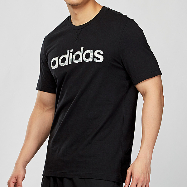 Adidas CAMO LINEAR TEE 男款 黑色 短袖 上衣 EI9755