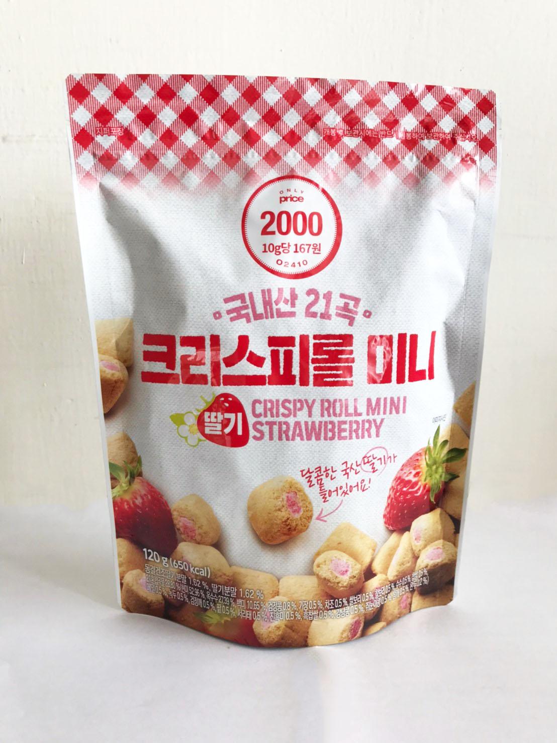 韓國 21種穀物餅乾 脆皮捲 迷你捲 草莓迷你捲 草莓口味 120g