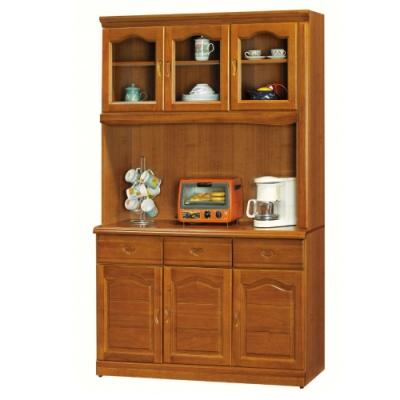 MUNA 967型樟木色4尺餐櫃/碗盤櫃(全組)  121X43X203cm