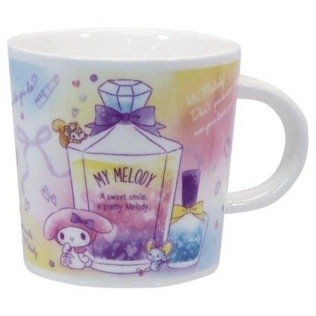 小禮堂 美樂蒂 馬克杯 陶瓷杯 咖啡杯 茶杯 水杯 250ml (粉紫 香水瓶) 4518648-27248