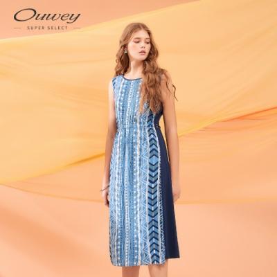 OUWEY歐薇 飄逸顯瘦拼接圖騰洋裝(藍)