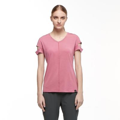 【HAKERS 哈克士】女 彈性吸濕排汗抗UV上衣(莓紅)