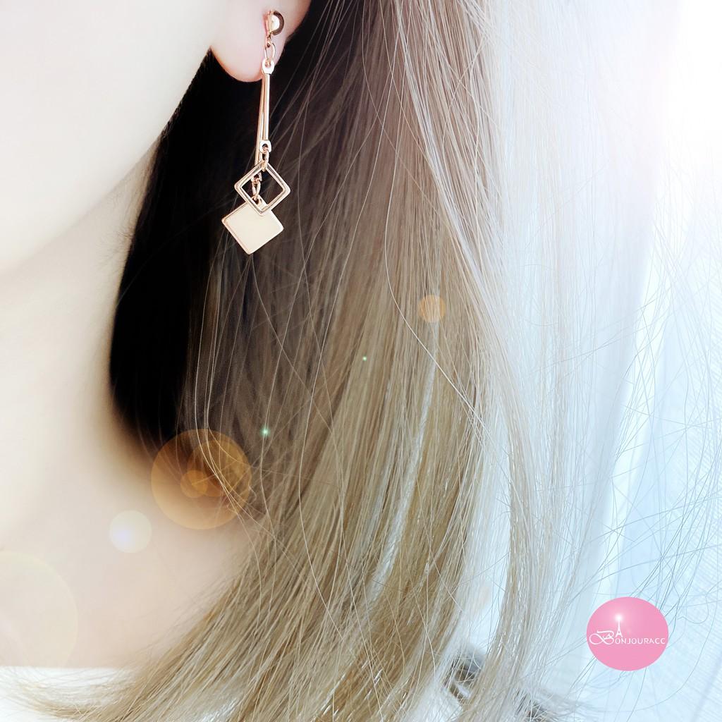 韓國 浪漫雙槓雙菱形 耳環 針式 夾式 【Bonjouracc】