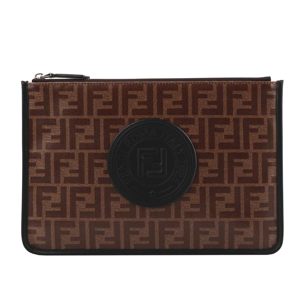 FENDI F LOGO MONOGRAM 釉面手拿包(咖啡/黑色) 7N0078 A5K4 F17PZ