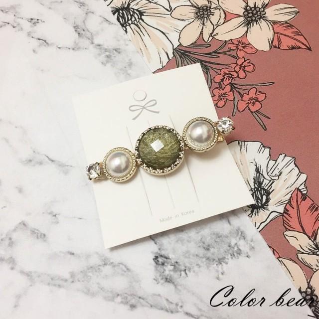 【卡樂熊】古典玉石造型髮夾/邊夾(綠色)