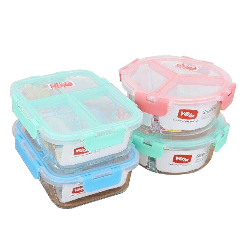 KOM三分隔玻璃保鮮盒長方型890ml/圓型880ml防漏便當盒野餐盒烤箱可用-大廚師百貨