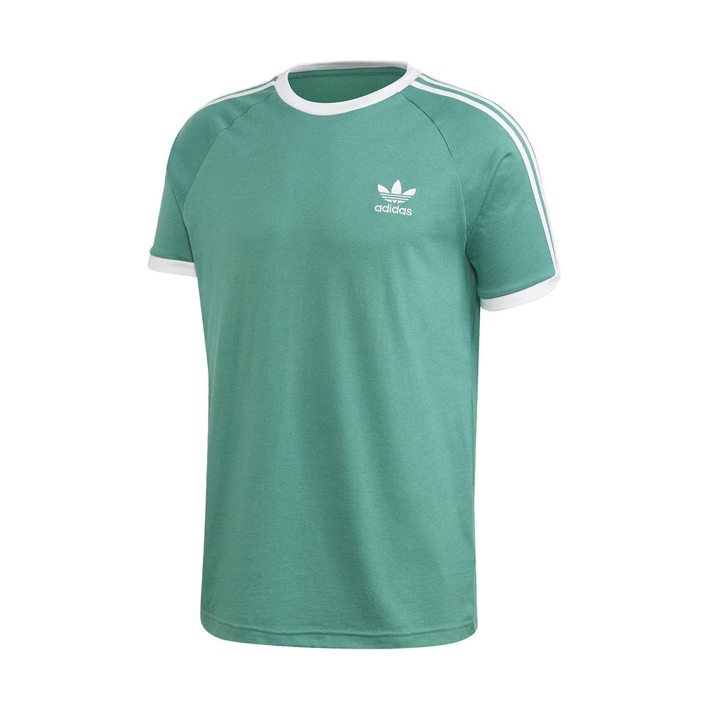 ADIDAS T恤 3-Stripes Tee 運動休閒 男款 愛迪達 三葉草 三線 圓領 棉質 基本款 綠 白 [FM3771]