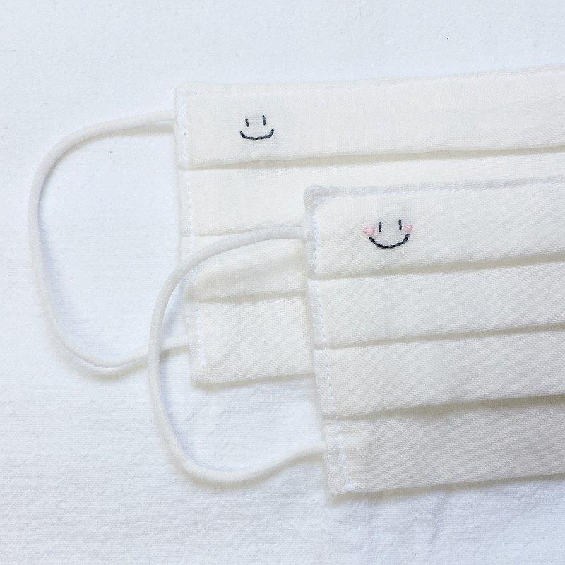 手工刺繡 笑臉 立體布口罩 可洗滌 純棉二重紗 白色 成人/兒童