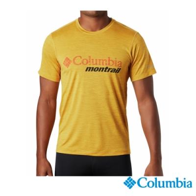 Columbia 哥倫比亞 男款- 野跑 防曬15快排短袖排汗衫-黃色 UAE03600YL