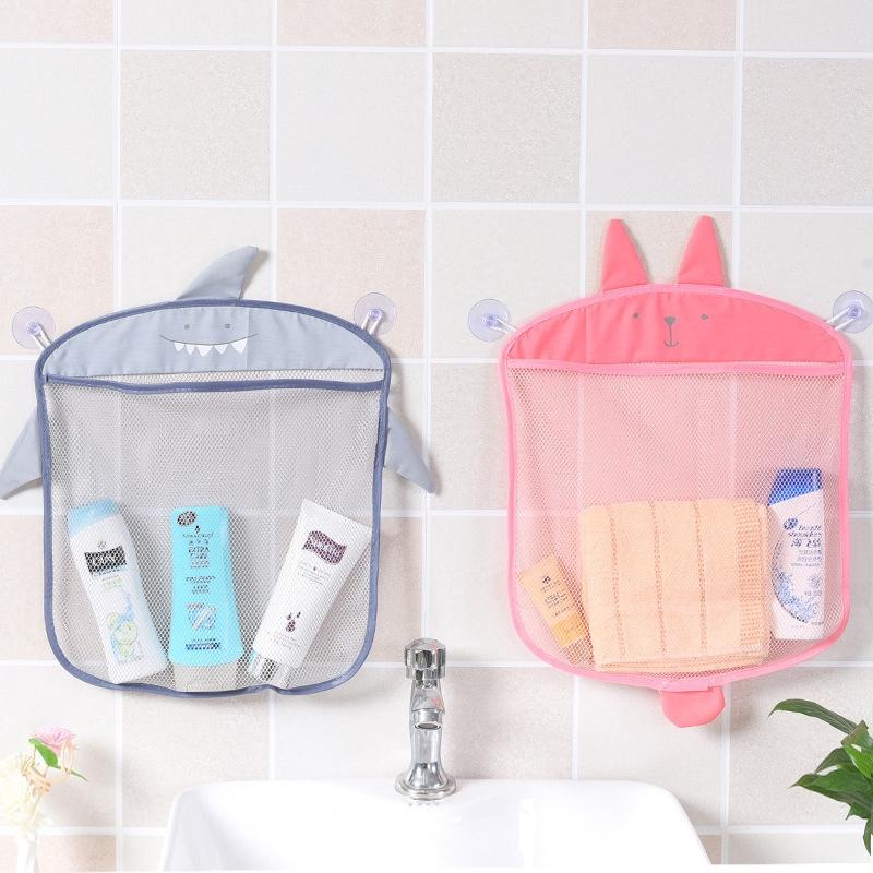 兔子小熊鯊魚寶寶洗澡儲物袋卡通造型浴室收納掛袋網袋帶吸盤