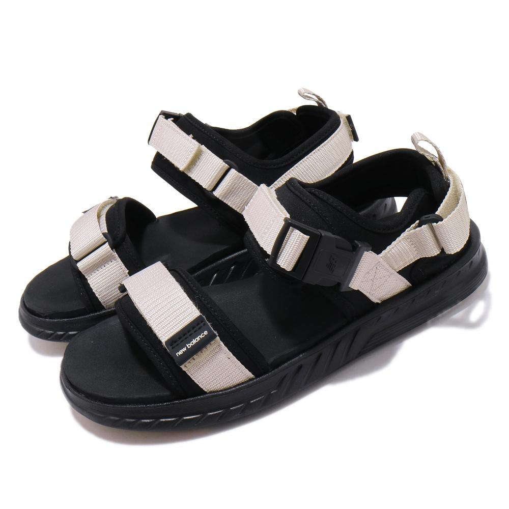 NEW BALANCE 涼拖鞋 SDL600BM D 情侶 男女鞋 紐巴倫 夏日 魔鬼氈 搭扣 黑 米白 [SDL600BMD]