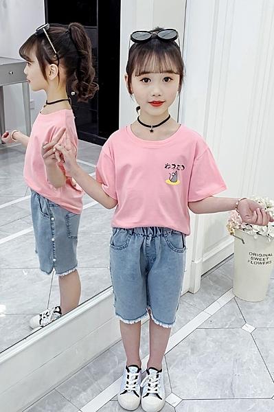 衣童趣↘韓版中大女童 夏日可愛貓咪T恤 短袖日風百搭上衣