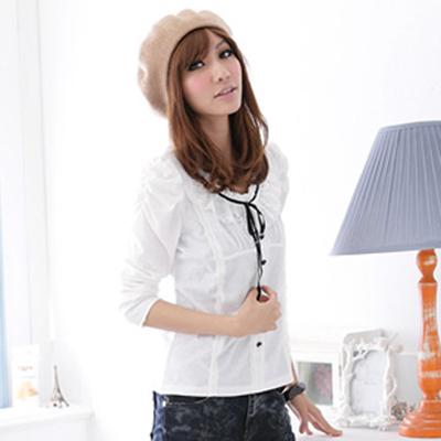 ☆Ringbear☆都會的自信甜美.蕾絲綁帶曲線素面長袖上衣(黑、白S-XL)-X19