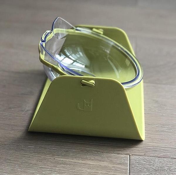 寵物飯碗 貓碗 貓食盆防打翻雙碗塑料透明食盆貓咪寵物喝水貓糧碗