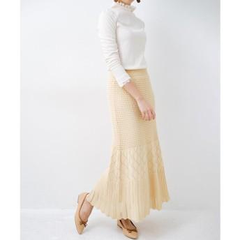 haco! 単品はもちろん重ね着してもかわいさが増す!透かし編みマーメイドスカート(アイボリー)