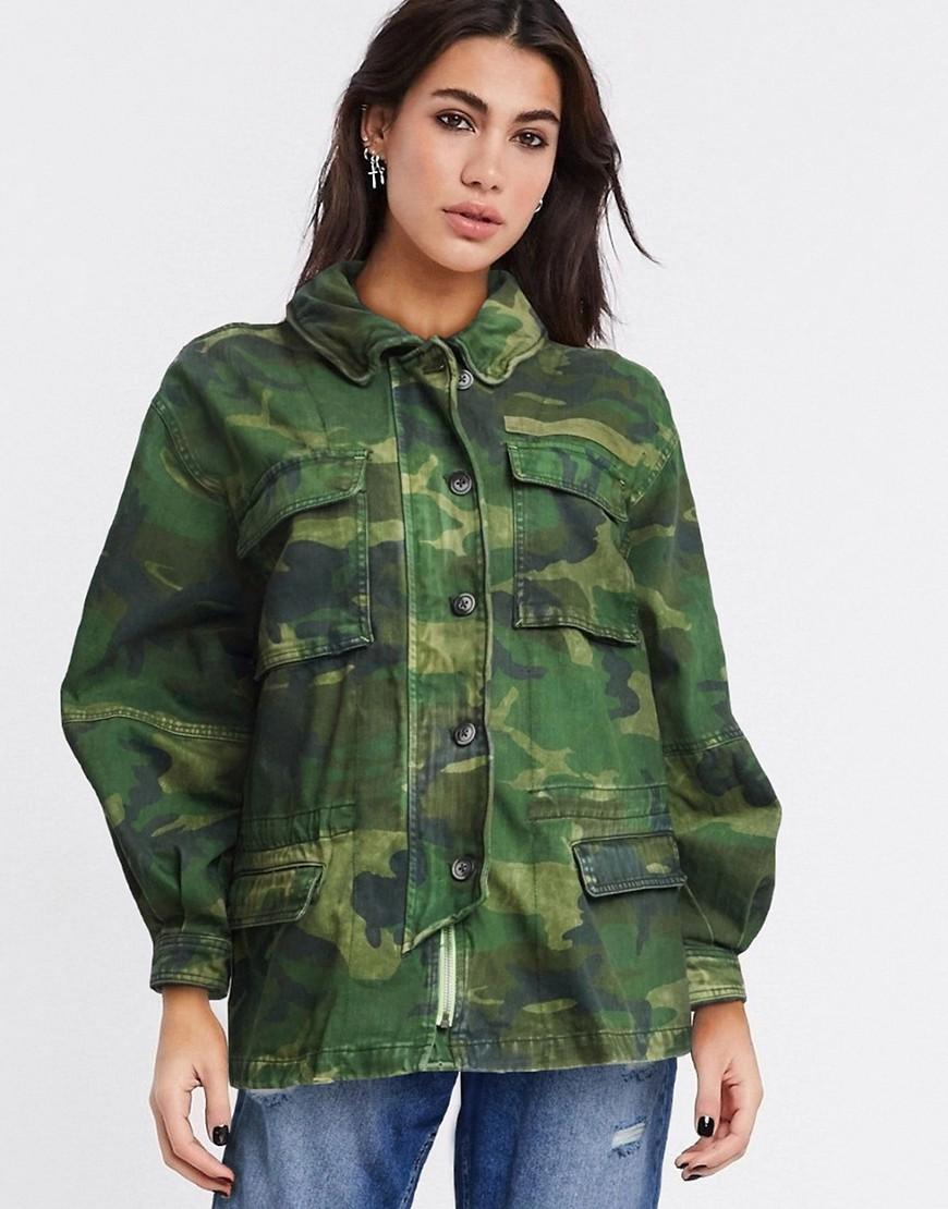 Free People lightweight jacket in camo-Green