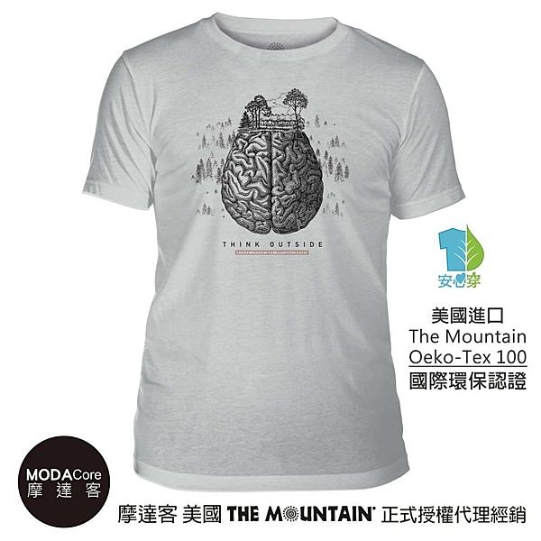 摩達客-(預購)美國The Mountain都會系列 大腦 藝術中性修身短袖T恤