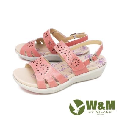W&M 雕花黏扣帶 厚底彈力涼鞋 女鞋 粉 20123-0007-86