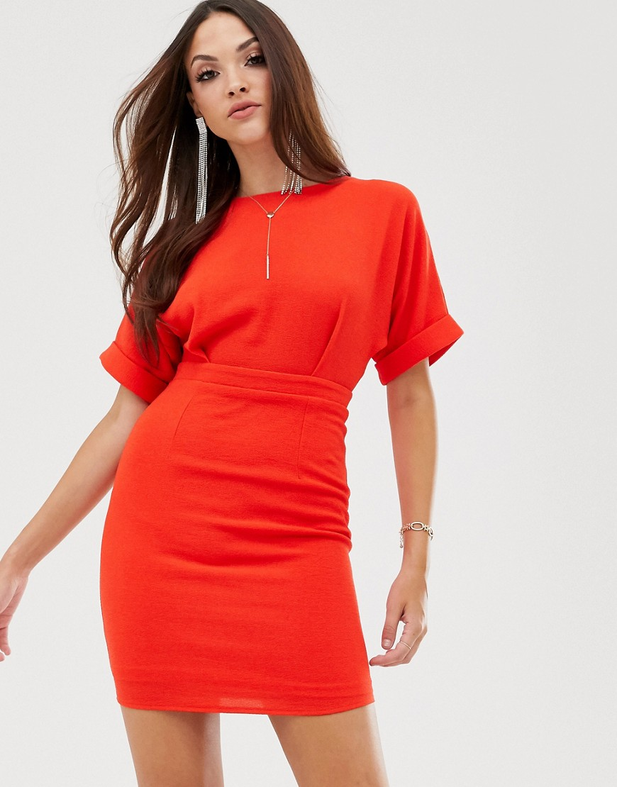ASOS DESIGN wiggle mini dress in red