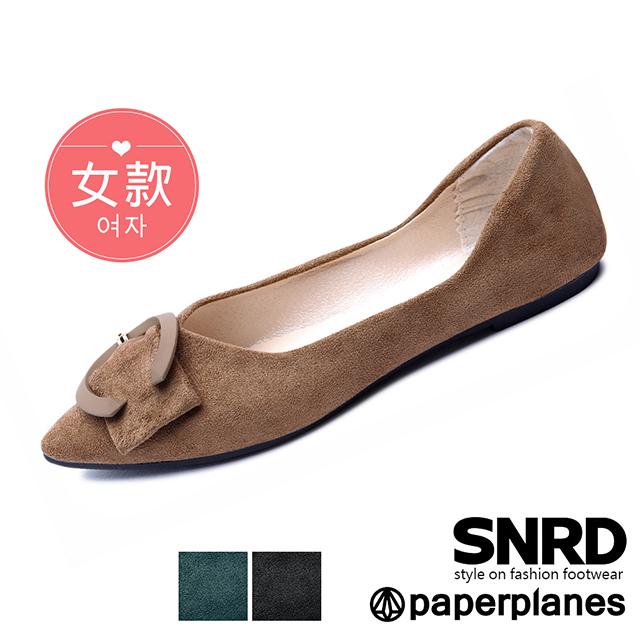 【Paperplanes】韓國空運/偏小版型。質感絨面大C低跟包頭鞋(7-LT101F共3色/現貨+預購)