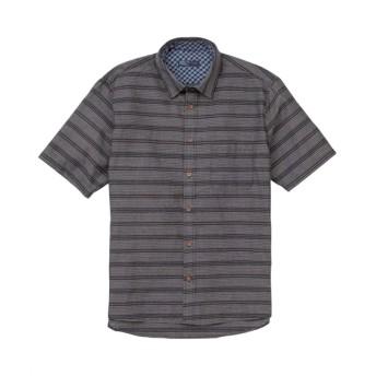 しじら織ボーダー柄半袖シャツ(消臭テープ付き) カジュアルシャツ, Shirts, テレワーク, 在宅, リモート