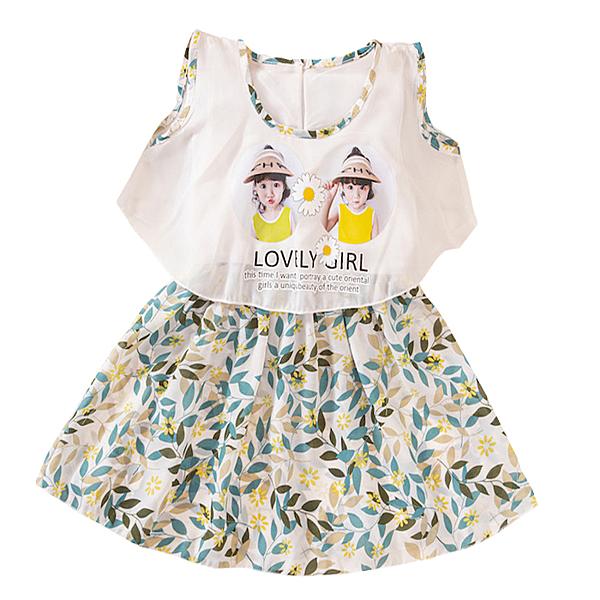 女童短袖洋裝 黃白菊花 雪紡連衣裙 透氣無袖 短裙洋裝 小禮服 女寶寶童裝 SG1114