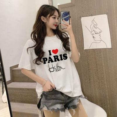 La BellezaI愛PARIS英文字印花棉質T恤