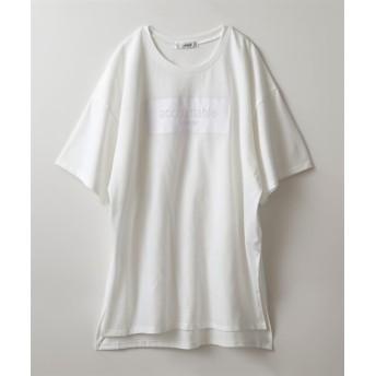 ボックスロゴ入ビッグTシャツ(サイドスリット有) (Tシャツ・カットソー)(レディース)T-shirts, テレワーク, 在宅, リモート