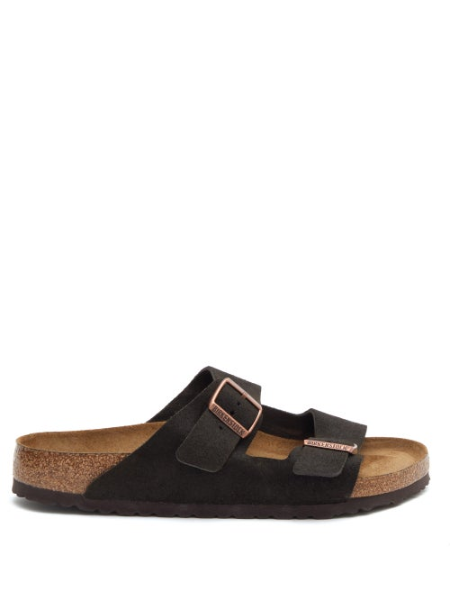 Birkenstock - Arizona Two-strap Suede Slides - Mens - Brown