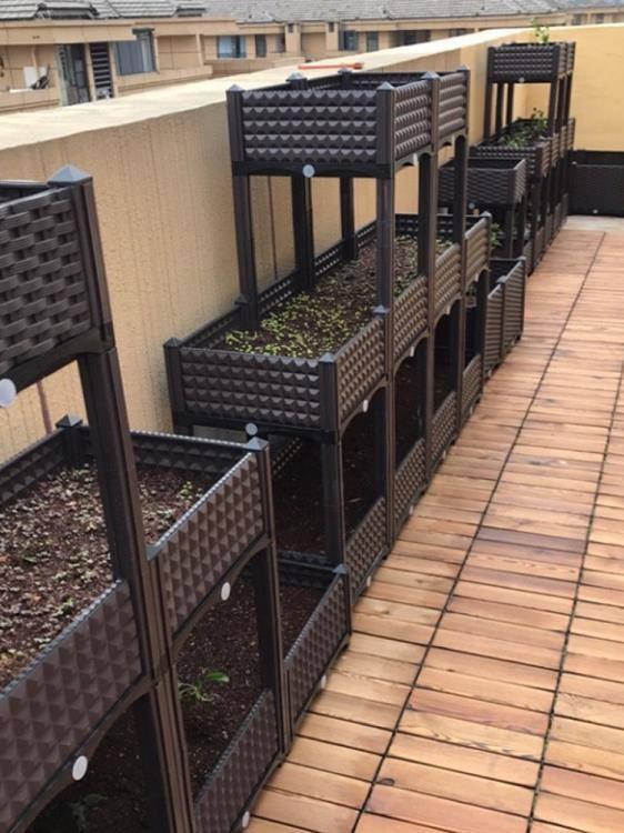 花盆菜園兄弟家庭陽臺種菜箱長方形種植槽樓頂特大花盆有機蔬菜種植箱 LX