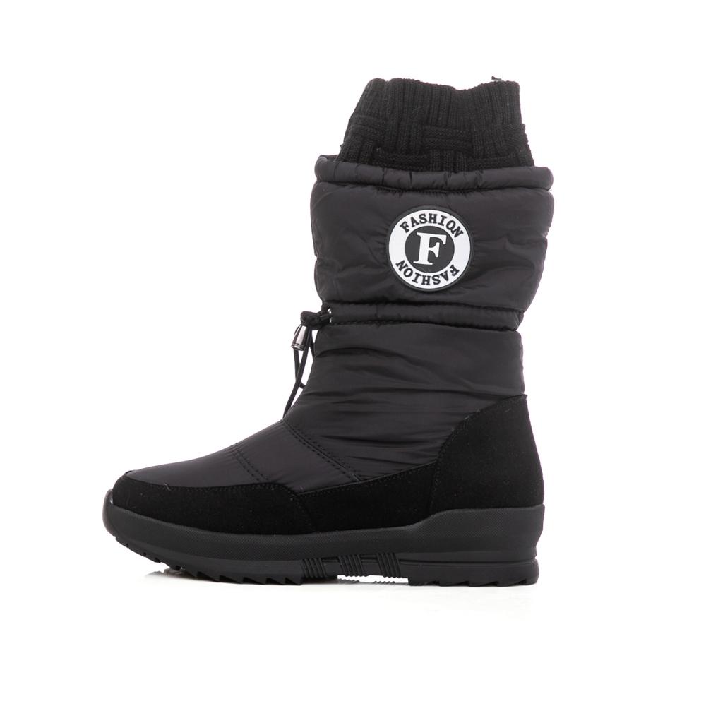 TAS 防潑水抽繩造型襪套雪地靴 率性黑