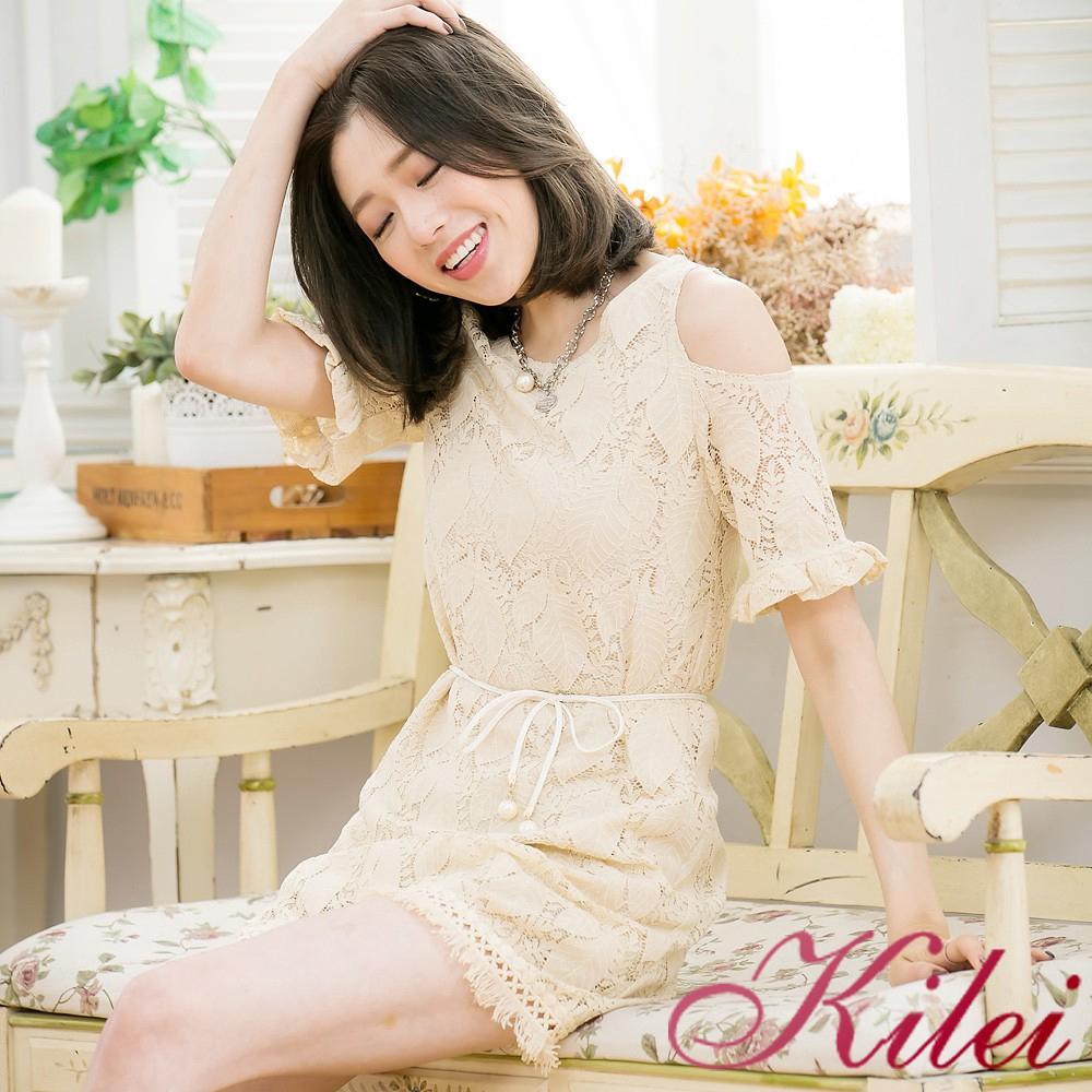 Kilei 蕾絲葉形荷葉袖流蘇小洋裝XA3355-02(優雅杏)全尺碼 廠商直送 現貨