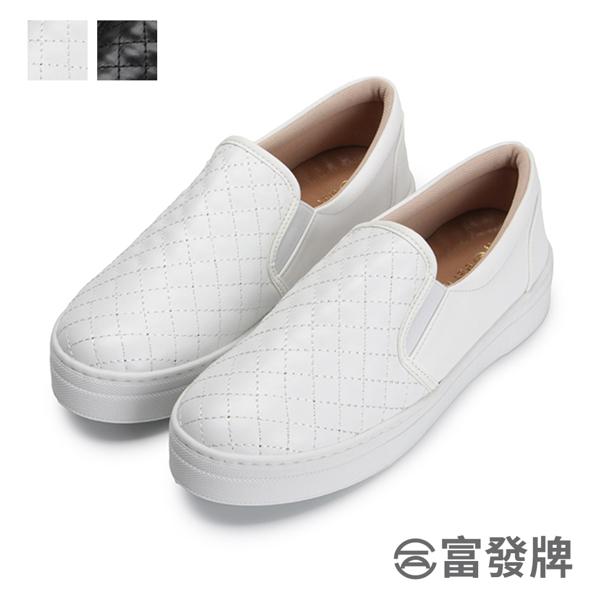FUFA 富發牌 波蘿菱格紋懶人鞋 黑 白 1BE68