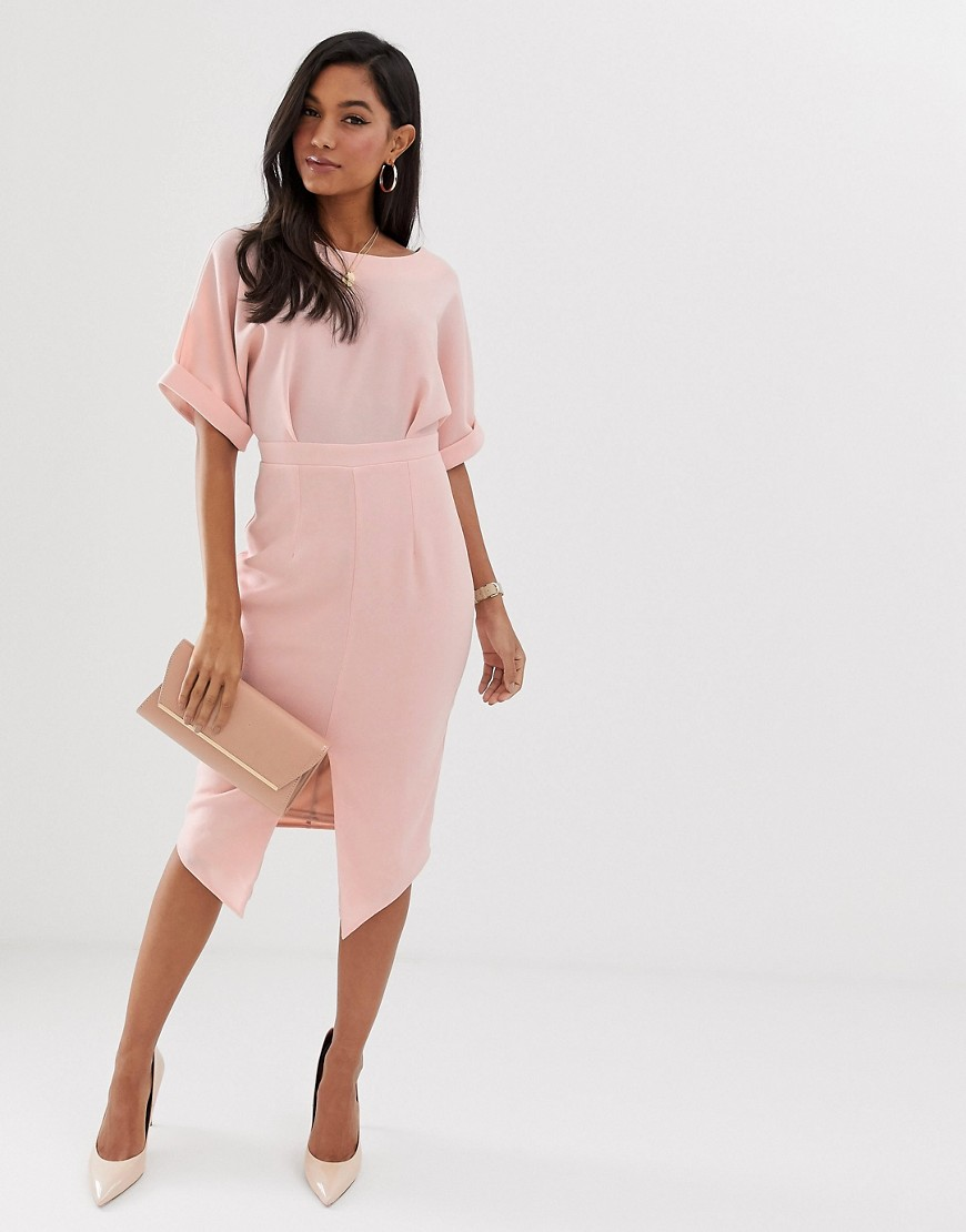 ASOS DESIGN wiggle midi dress in blush-Pink