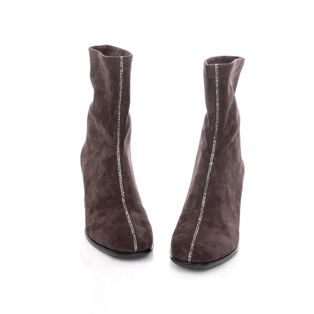 TAS 質感彈力絨布拼接水鑽粗跟襪靴 咖啡灰