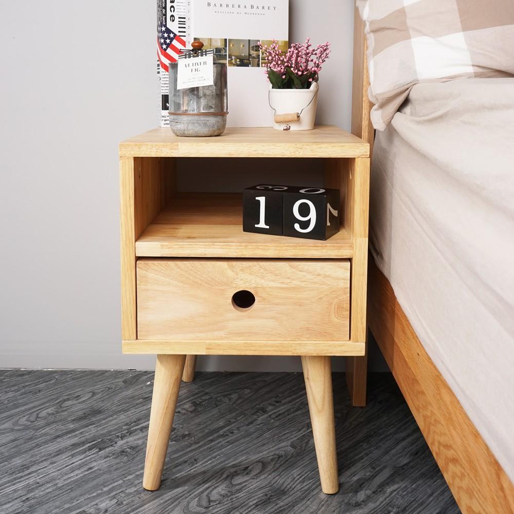 YoStyle 實木時尚高腳床頭櫃 床邊櫃 置物櫃 收納櫃